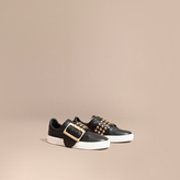 Burberry Oversize Buckle and Stud Detail Leather Trainers