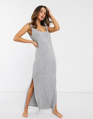Asos Design DESIGN lounge rib knit dress-Grey