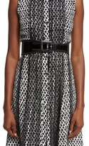 Oscar de la Renta Wide Asymmetric Waist Belt, Black