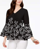 Alfani Printed V-Neck Poet-Sleeve Top, Created for Macy's