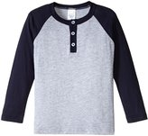 City Threads Raglan Henley Tee (Toddler/Kid) - Black/Heather Gray - 3T