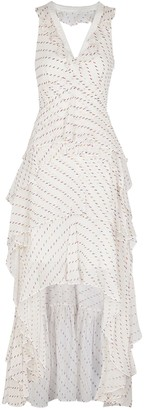 Diane von Furstenberg Bess white fil coupe tiered maxi dress