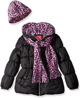 Pink Platinum Toddler Girls' Puffer Jacket with Cheetah Lining and Accessories