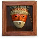 Artisan Crafted Cultural Framed Shadow Box Mask, 'Chancay'