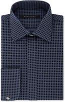 Sean John Men's Regular Fit Blue Velvet Flocked French Cuff Dress Shirt