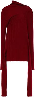 Marques Almeida Draped Ribbed Merino Wool Sweater