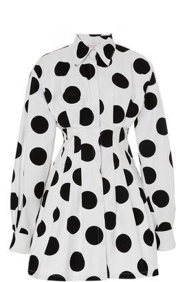 Carolina Herrera Polka-Dot Cotton-Poplin Mini Dress
