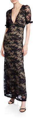 Nightcap Clothing Fiora V-Neck Short-Sleeve Lace Column Dress