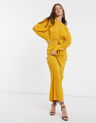 ASOS DESIGN plisse batwing wrap maxi dress with self tie belt in gold