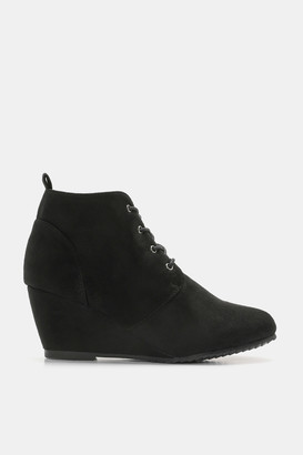 Ardene Faux Suede Wedge Ankle Boots - Shoes |