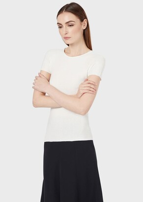 Giorgio Armani Short-Sleeved Knitted Top In Ottoman Fabric