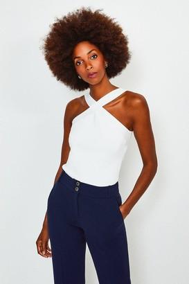 Karen Millen Cross Neck Knitted Top