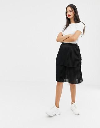 UNIQUE21 layered pleated midi skirt
