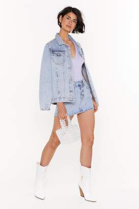 Nasty Gal Womens You Need to Calm Button-Down Denim Mini Skirt - Blue - 10