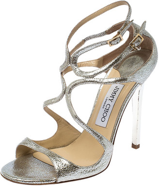 Jimmy Choo Silver Leather Lang Ankle Strap Sandals Size 39