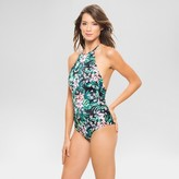 Women's Floral Scalloped High Neck One Piece Swimsuit Onyx - Vanilla Beach
