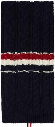 Thom Browne Navy Mohair Aran RWB Stripe Scarf