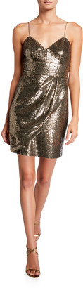 Parker Black Guayana Sequin Sleeveless Mini Dress with Side Drape