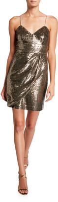 Parker Black Guayana Sequin Sleeveless Mini Dress with Side Drape