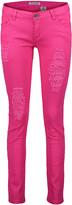 Couture Miss Kitty Women's Denim Pants and Jeans Fushia - Fuchsia Distressed Skinny Jeans - Juniors