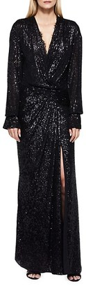 Jonathan Simkhai Sequin-Embellished Draped Front Gown