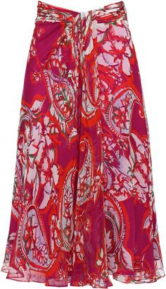 Prabal Gurung Gathered Floral-print Silk Crepe De Chine Skirt