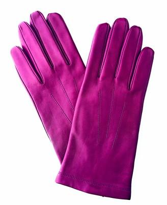 John Lewis & Partners Leather Women's Gloves Medium Size Pink Magenta