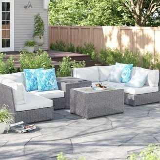 Sol 72 Outdoor Almyra Cup Holder 9 Piece Sectional Seating Group with Cushions