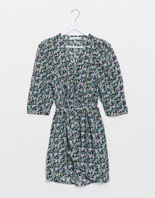 Only mini dress with belted waist in mixed ditsy floral