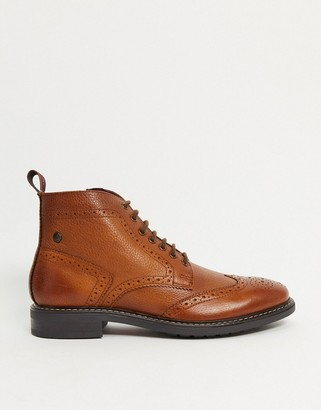 Base London Berkley brogue boots in brown leather