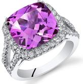 Ice 7 1/2 CT TW Lab-Created Pink Sapphire Sterling Silver Halo Fashion Ring with CZ Accents
