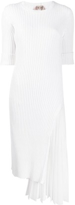No.21 Bi-Material Ribbed Pleated Dress