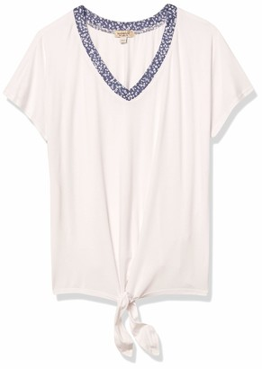 One World ONEWORLD Women's V-Neck TIE Front Box TOP
