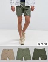 Asos 3 Pack Slim Chino Shorts In Stone Dark Khaki & Light Green SAVE
