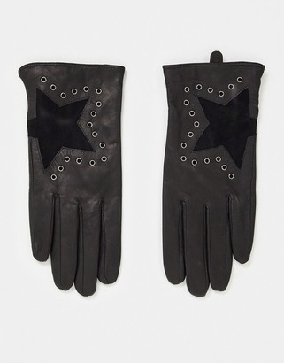 House of Holland leather gloves with star detail in black