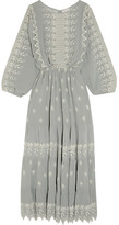 LoveShackFancy - Cecile Embroidered Silk-georgette Maxi Dress - Light gray