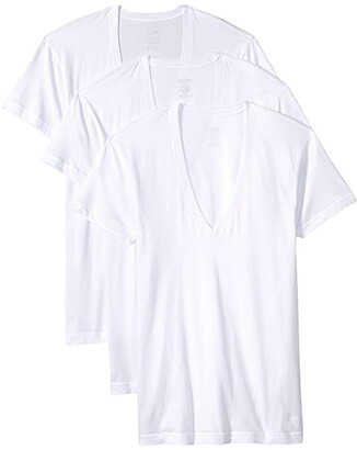 2xist Essential 3-Pack Slim Fit Deep V-Neck T-Shirt (White New Logo) Men's T Shirt