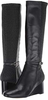 Cole Haan Lauralyn Stretch Wedge Boot 65 mm (Black Leather/Stretch Quilt/Black Stack) Women's Shoes