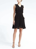 Banana Republic Ruffle-Sleeve Fit-and-Flare Dress