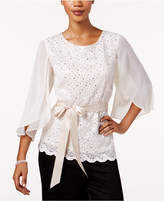 Connected Sequined Lace & Chiffon Top
