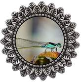 GiftJewelryShop Ancient Style Silver Plate Beautiful Lovely Dragonfly Leaves Cameo Pins Brooch