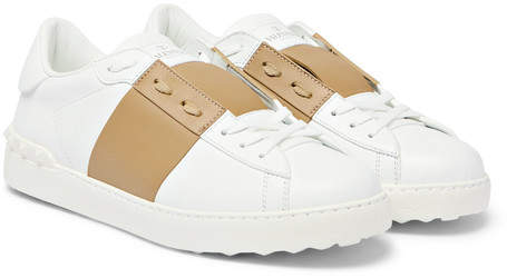 Valentino Open Striped Leather Sneakers