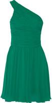 Halston One-shoulder ruched chiffon dress