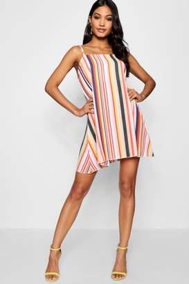 boohoo Square Neck Strappy Striped Cami Dress