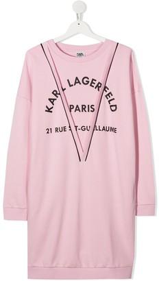 Karl Lagerfeld Paris TEEN logo-print sweatshirt dress