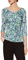 Gina Bacconi Jersey Floral Print Top, Green