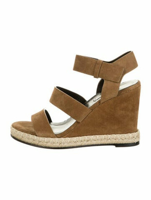 Balenciaga Suede Wedge Sandals Tan