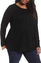 Sejour Plus Size Women's Crewneck Side Split Wool & Cashmere Pullover