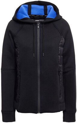 DKNY Shell-paneled Quilted Scuba Hooded Jacket