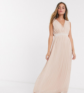 Y.A.S Petite Bridal pleated maxi dress with deep v neck in pink